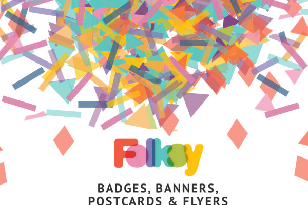 Folksy badges, banners, flyers, printables, postcards
