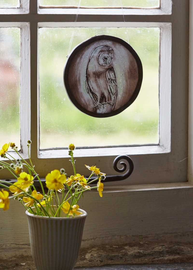 owl-stained-glass-suncatcher, styled product shots, photography tips, stained glass owl,