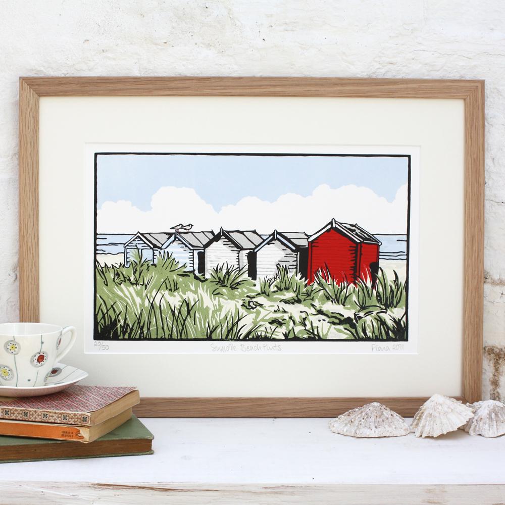 Fiona Carver, printmaker, linocut, beach huts