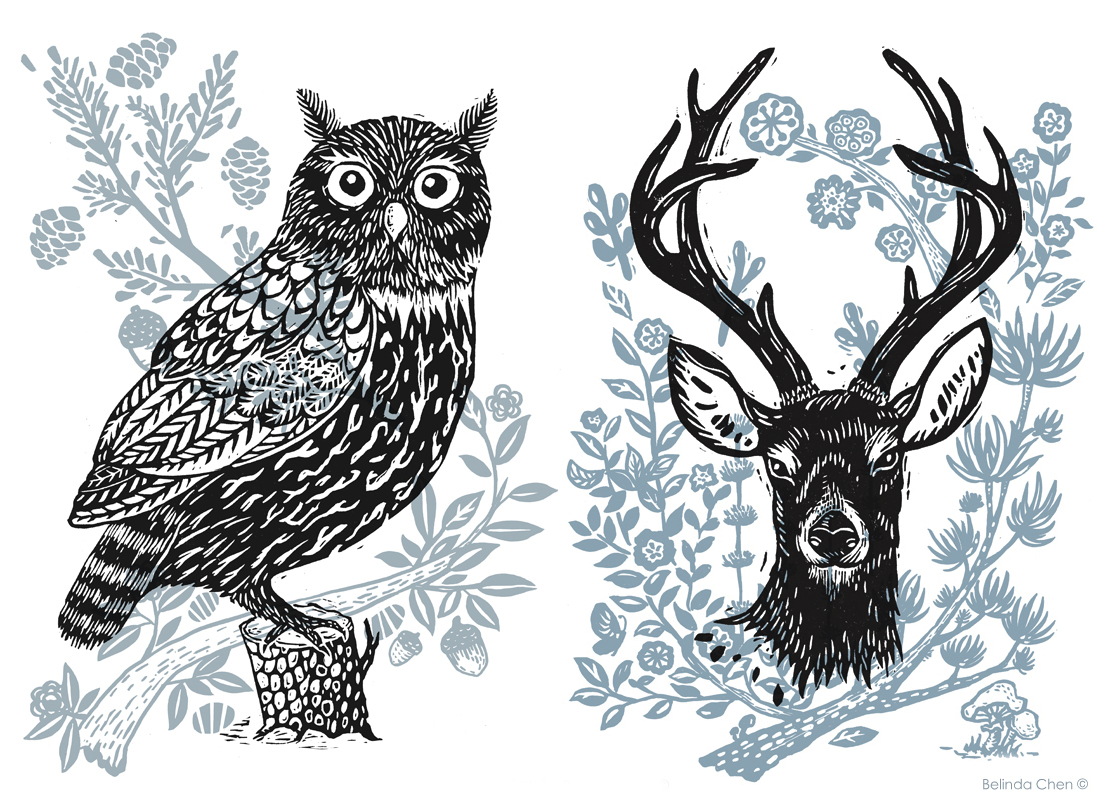 Bels Art World, John Lewis, Owl, Stag, print, framed, Bel Chen