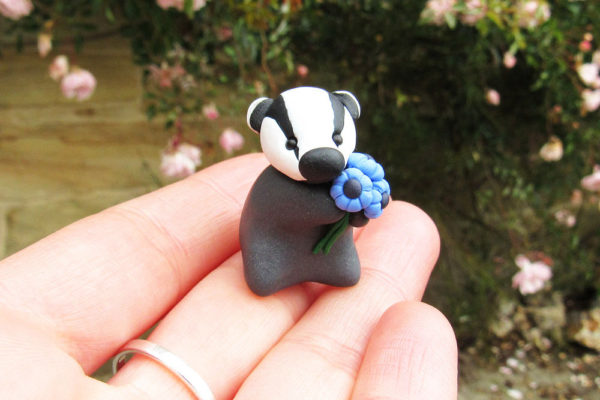 polymer clay badger, Earth and Air Jewellery, interview, polymer clay animals
