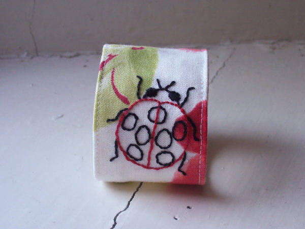 Ladybird Cuff, fabric jewellery, Bees and Blossoms