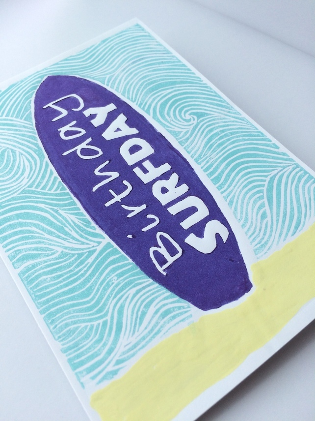 Lino Print Birthday Card for Surfers ' Happy Surfday' by Rachey Jane Prints Again