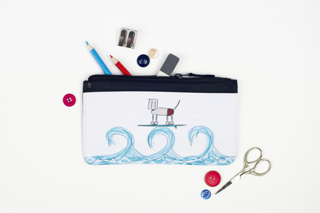 Surfing Pencil Case by Sarah Westwood, Illustrator & PA to Sprocket