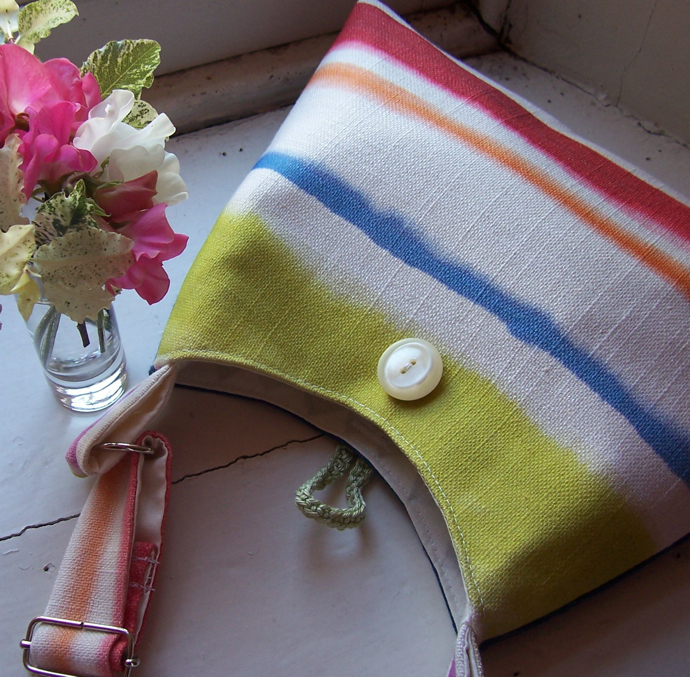 Rainbow Stripe Handmade Bag, Bees and Blossoms