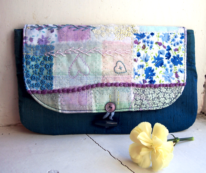 silk clutch bag, bees and blossoms