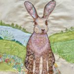 Daisylions, embroidered hare, hare embroidery,