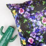 silk flower cushion, pansy print, pansy cushion,