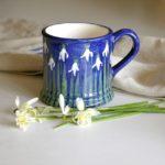 snowdrop mug, handmade mug, ceramic mug, handmade ceramic snowdrop mug,