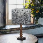 Bear Print Design, lino printed lampshade, lino lampshade