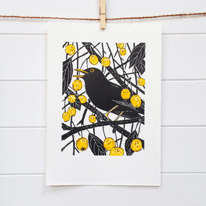 Blackbird lino print, blackbird art, Little Ram Studio, printmakers, linoprint, lino, British wildlife artists,