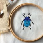 Beetle and Bee, embroidered beetle