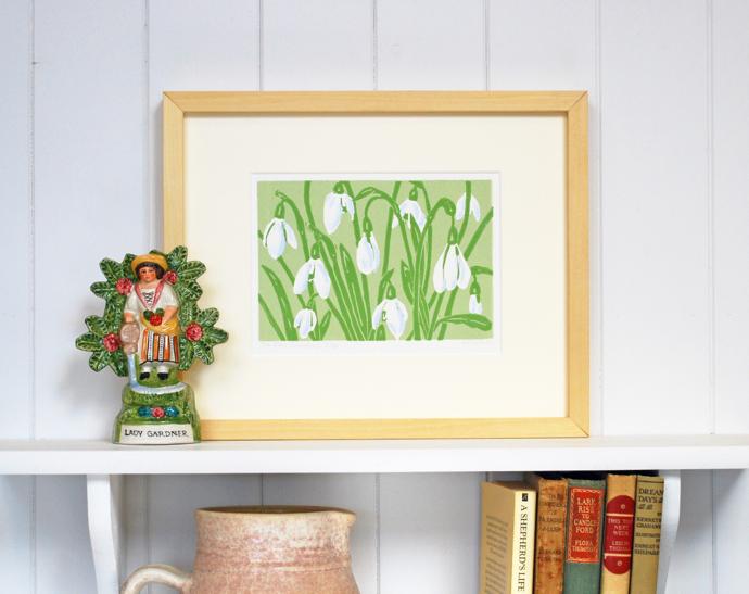 Snowdrops art print, Little Ram Studio, printmakers, linoprint, lino, British wildlife artists,
