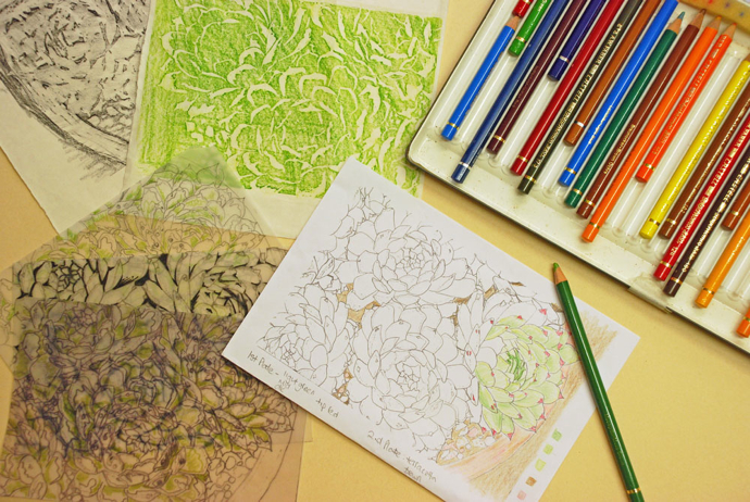 succulent artwork, linoprint, little ram studio