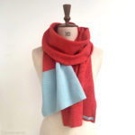 colour block scarf, hand knitted scarf