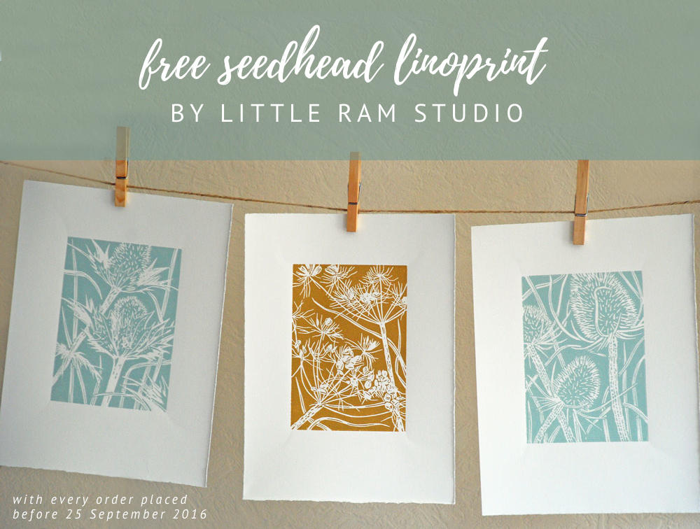 free linoprint, Little Ram Studio, seedhead print, seedhead art, lino