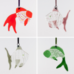 fused glass, fused glass decorations, fused glass fish,