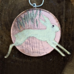 Hare and Rose Gold Moon brooch, Kate Rattray