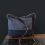Indigo wool and leather bag, lavanda design,