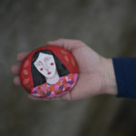 painted stone, artist pebble, judith logan,