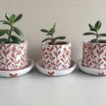 Lino cut planters, lino cut plant pots, kerry day,