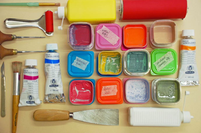 lino print tools, Little Ram Studio, printmakers, linoprint, lino, British wildlife artists,