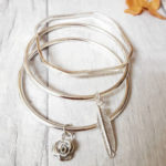 Lucylou designs silver feather bangle, Instagram