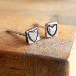 silver heart earrings,