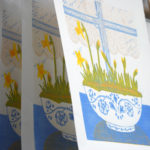 Daffodils on a window sill lino print, Little Ram Studio
