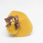 Yellow autumnal hat with acorns, Manthy Proctor, gold fez,