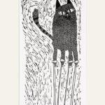 Melanie Wickham, cat on stilts, lino prints,