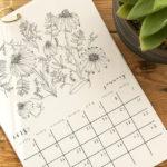 Botanical Colouring Calendar, colouring in calendar, Larissa Vinck, Vinck