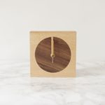 English beech and inlaid Walnut wood minimalist clock, east design, minimalist clock,