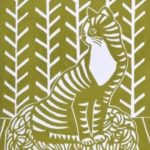 meadowlark prints, cat lino print,