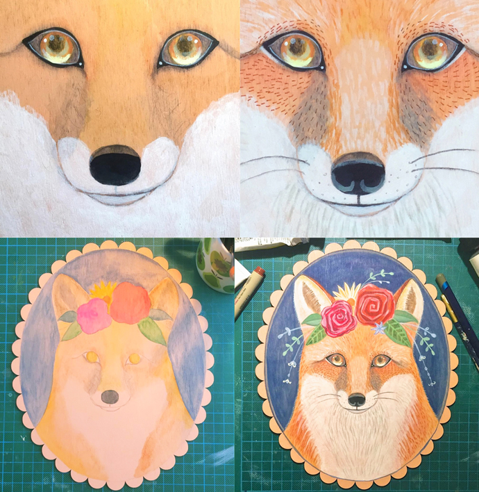 Fox painting, Menagerie Art, Emma Gray, wip, work in progress