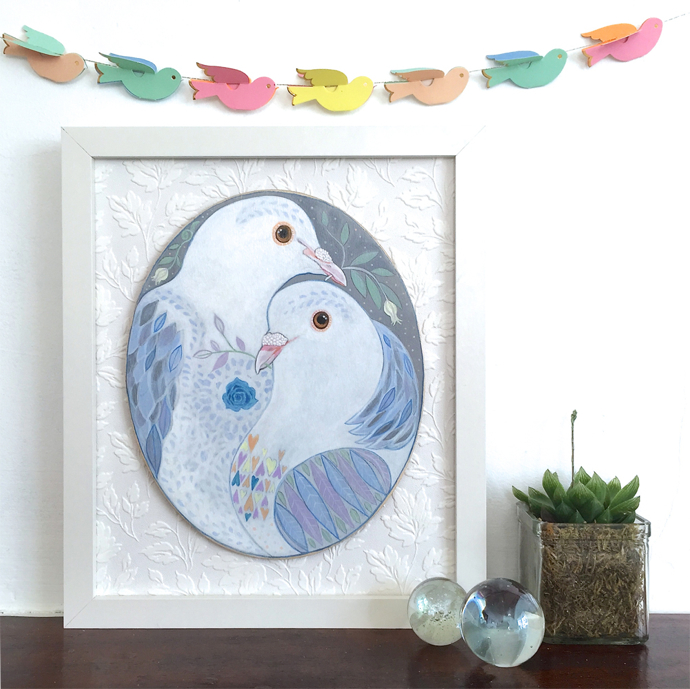 Doves, two doves, painting, Menagerie, original art,