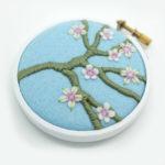 embroidery hoop art, cherry blossom,