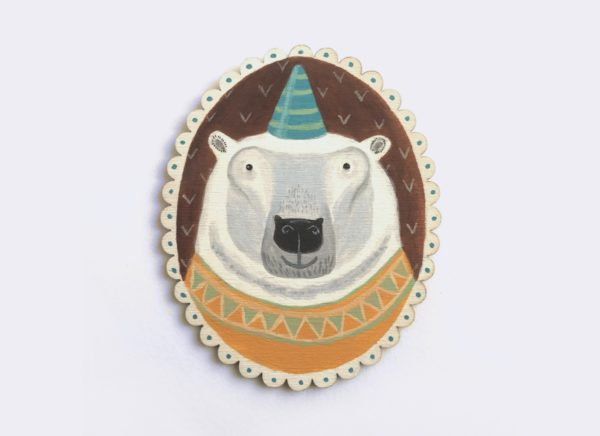 polar bear painting, party hat, party bear, Amos, Menagerie
