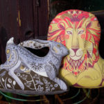 Sarah Young, lion cushion, hare cushion