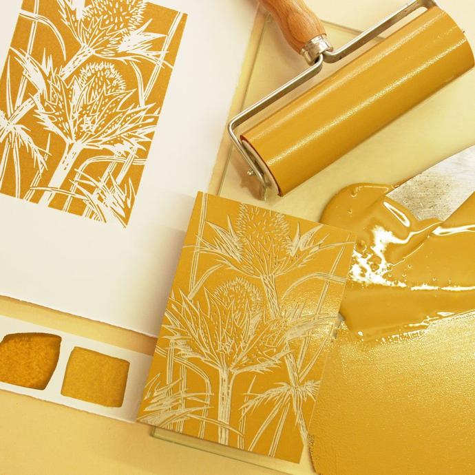 eryngium, seedhead linocut, seedhead lino print, Little Ram Studio, printmakers, linoprint, lino, British wildlife artists,