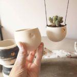 hanging planter, handmade planter, handmade ceramic hanging planter, sejal ceramics, sejal ceramics instagram