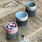 Porcelain beakers, Katie Robbins, Ceramic Magpie, two tone ceramics