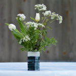 blue pottery vase, handmade vase, cow parsley, komatsu ceramics