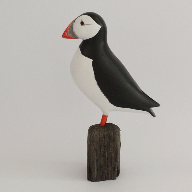 Puffin, wooden puffin, puffin sculpture, carved puffin, carved birds