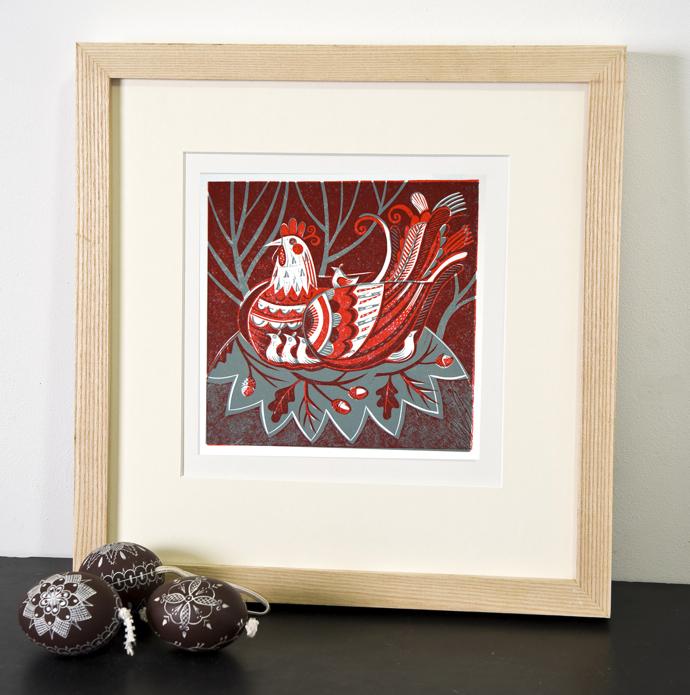 Sarah Young, lino print, hens and chicks
