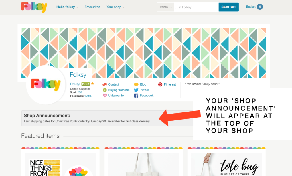 shop announcement feature, folksy