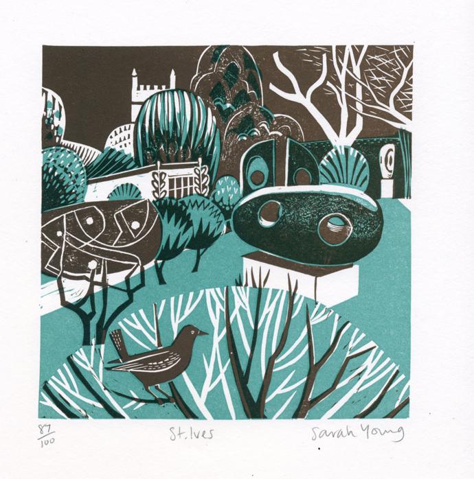 Sarah Young, St Ives, lino print