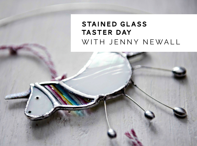 Stained Glass workshop, stained glass unicorn, Jenny Newall