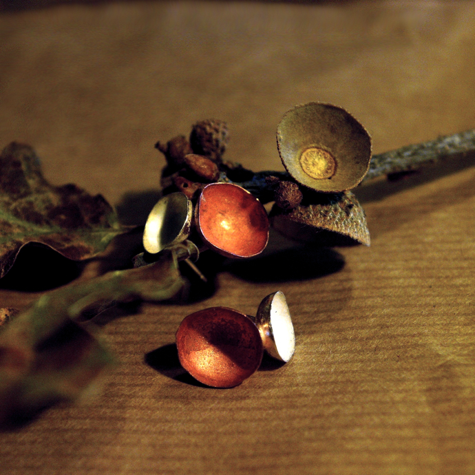 Acorn Cup Earrings, copper and silver