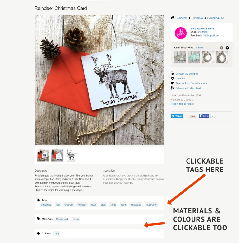 Clickable Tags, Folksy